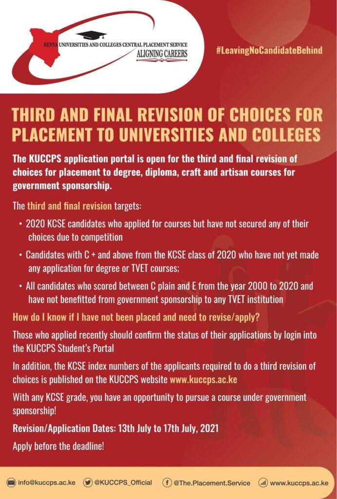 kuccps third revision 2021