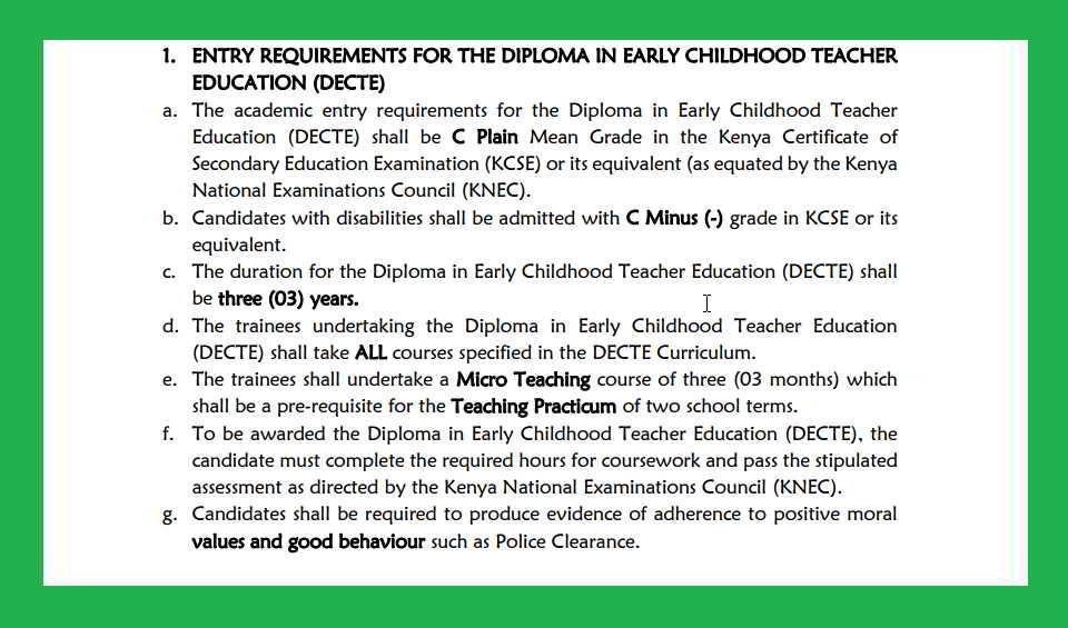 Diploma in ECDE qualifications in Kenya