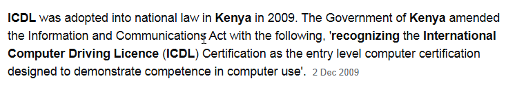 international computer driving licence course in Kenya
